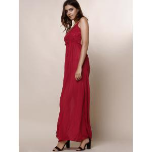 Maxi Backless Slip Beach Lace Insert Dress - WINE RED S