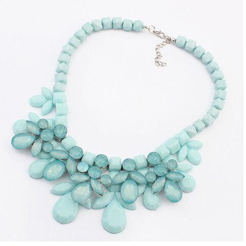 Fashion Luxury Multi-Layered Water Drop Shape Pendant Necklace For Women BLUE