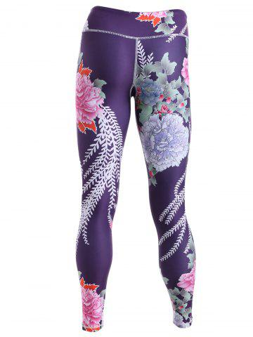 Chic Sporty Floral Print Slimming Pants For Women - S BLACK Mobile