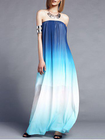 Best Ombre Color Maxi Bandeau Beach Dress