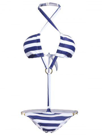 Elegant Halter Neck Striped Lace-Up One-Piece Swimsuit For Women - STRIPE S