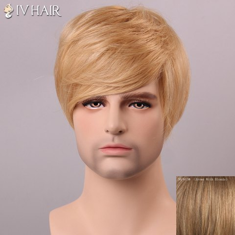 Hot Siv Hair Shaggy Straight Human Hair Men's Wig - BROWN WITH BLONDE  Mobile