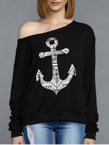 Unique Stylish Skew Neck Long Sleeve Anchor Pattern Women's Tee