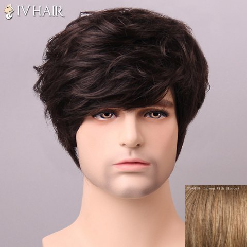 Latest Shaggy Siv Hair cCurly Human Hair Wig For Men BROWN/BLONDE