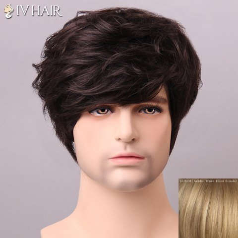 Outfits Shaggy Siv Hair cCurly Human Hair Wig For Men - GOLDEN BROWN WITH BLONDE  Mobile