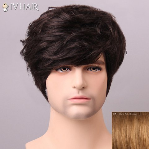 Unique Shaggy Siv Hair cCurly Human Hair Wig For Men DARK ASH BLONDE