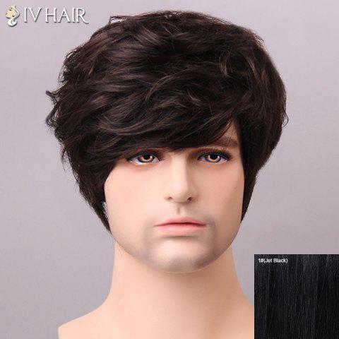 Online Shaggy Siv Hair cCurly Human Hair Wig For Men JET BLACK