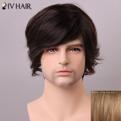 Unique Siv Hair Fashion Side Bang Human Hair Wig For Men - BROWN WITH BLONDE  Mobile