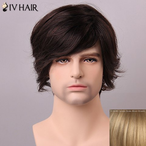 Fashion Siv Hair Fashion Side Bang Human Hair Wig For Men - GOLDEN BROWN WITH BLONDE  Mobile