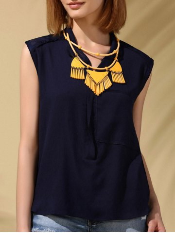 Online Trendy Stand-Up Collar Voile Patchwork Chiffon Tank Top For Women