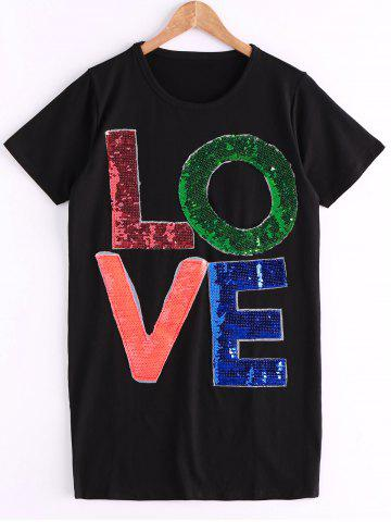 Outfit Stylish Jewel Neck Seuqined Short Sleeves T-Shirt For Women