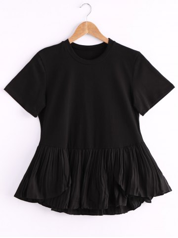 Chic Stylish Round Neck Short Sleeve Pure Color Flounced Women's T-Shirt