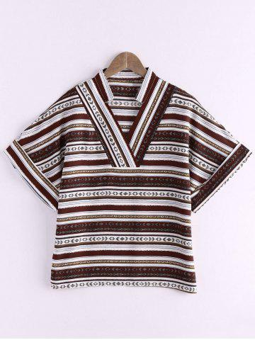 Outfits Ethnic Style V Neck Striped Color Block Women's T-Shirt