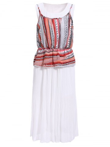 Fancy Bohemian Scoop Neck Printed Ruffled Pleated Dress Twinset For Women