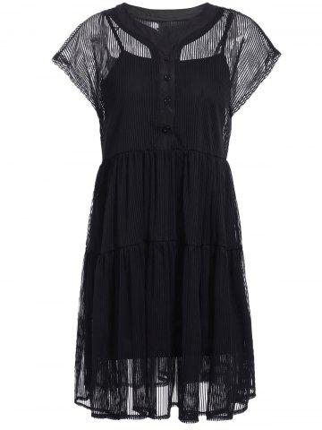 New Elegant V-Neck Short Sleeves Lace Shirt Dress Twinset For Women