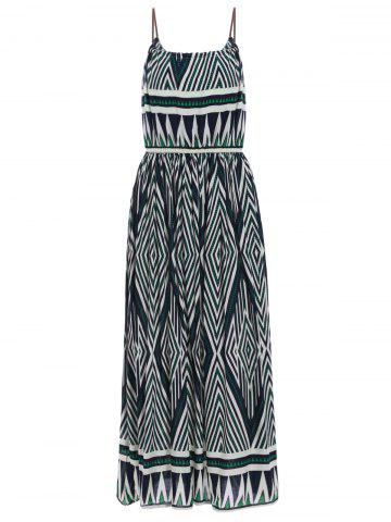 Fashion Bohemian Spaghetti Strap Geometric Print Ankle Dress For Women