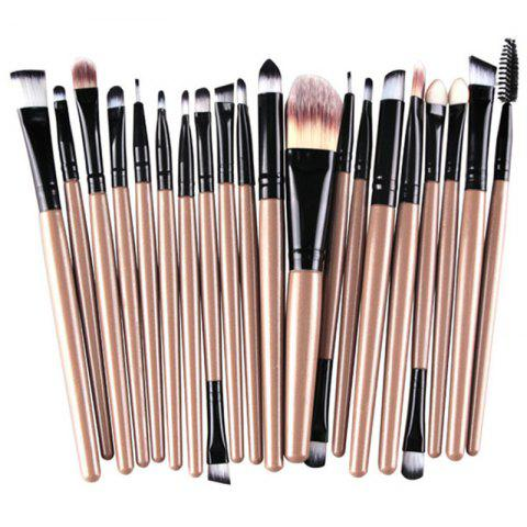 Fashion Stylish 20 Pcs Multifunction Plastic Handle Nylon Makeup Brushes Set CHAMPAGNE GOLD
