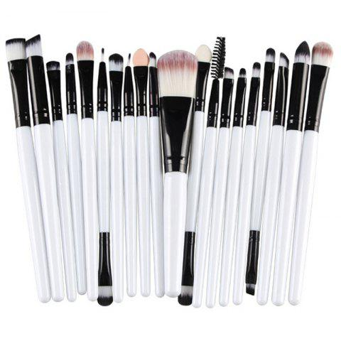 Fancy Stylish 20 Pcs Multifunction Plastic Handle Nylon Makeup Brushes Set WHITE