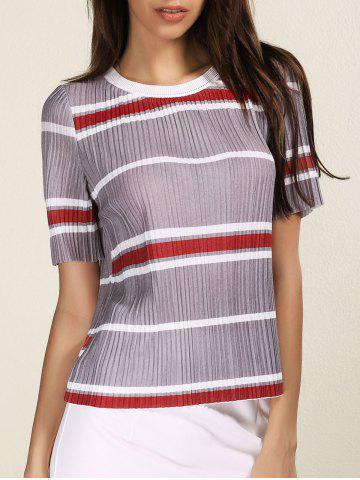 Unique Fashionable Round Neck Short Sleeve Striped Pleated Women's T-Shirt