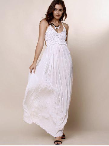 Fashion Maxi Backless Slip Beach Lace Insert Dress - L WHITE Mobile