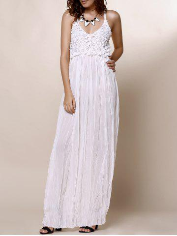 Hot Maxi Backless Slip Beach Lace Insert Dress - L WHITE Mobile