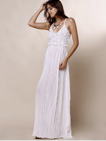Cheap Maxi Backless Slip Beach Lace Insert Dress - L WHITE Mobile