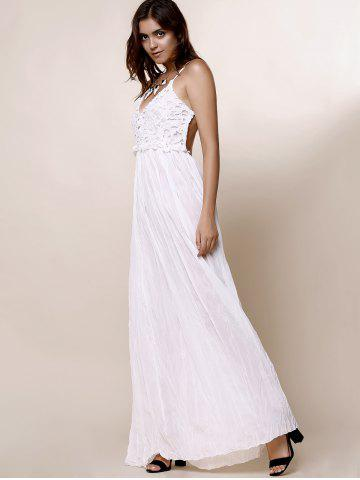 Affordable Maxi Backless Slip Beach Lace Insert Dress - L WHITE Mobile