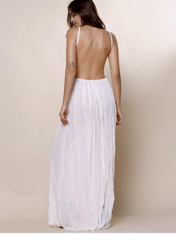 New Maxi Backless Slip Beach Lace Insert Dress - L WHITE Mobile