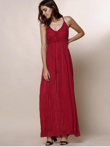 Affordable Maxi Backless Slip Beach Lace Insert Dress - S WINE RED Mobile