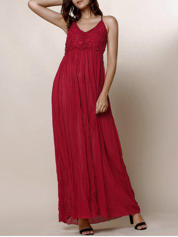 Affordable Maxi Backless Slip Beach Lace Insert Dress - M WINE RED Mobile