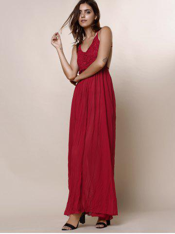 Shop Maxi Backless Slip Beach Lace Insert Dress - L WINE RED Mobile