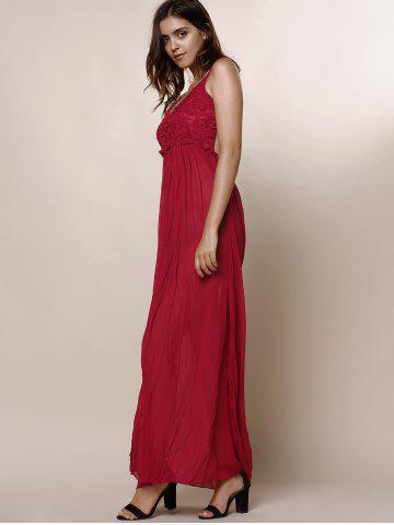 Hot Maxi Backless Slip Beach Lace Insert Dress - L WINE RED Mobile