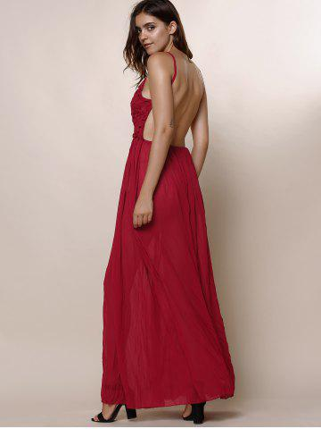 Discount Maxi Backless Slip Beach Lace Insert Dress - XL WINE RED Mobile