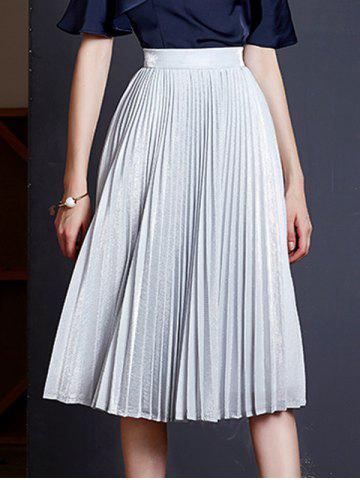Best Elegant Solid Color Pleated Women's Expansion Skirt