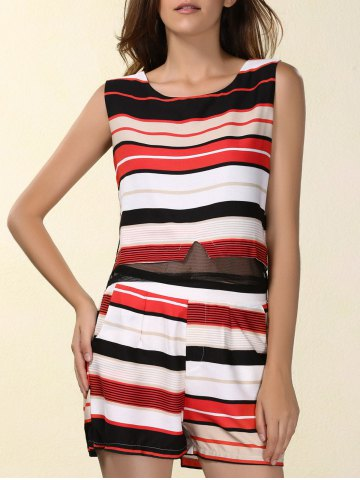 Unique Chic Women's Jewel Neck Sleeveless Furcal Tank Top + Striped Shorts