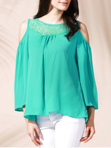 Affordable Stylish Lace Cut Out  Loose-Fitting 3/4 Sleeve Chiffon Blouse For Women