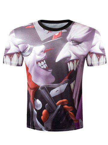 Online Casual Pullover Round Collar 3D Devil Printed T-Shirt For Men