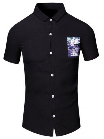 Outfit Turn-Down Collar 3D Letters Printed Short Sleeve Cotton+Linen Shirt For Men BLACK M