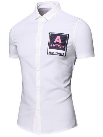 Chic Turn-Down Collar Letters Printed Short Sleeve Cotton+Linen Shirt For Men - M WHITE Mobile