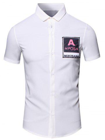 Chic Turn-Down Collar Letters Printed Short Sleeve Cotton+Linen Shirt For Men - L WHITE Mobile