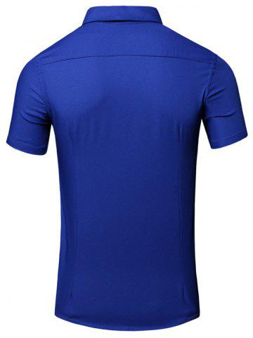 New Turn-Down Collar 3D Iron Tower Printed Short Sleeve Cotton+Linen Shirt For Men - L BLUE Mobile