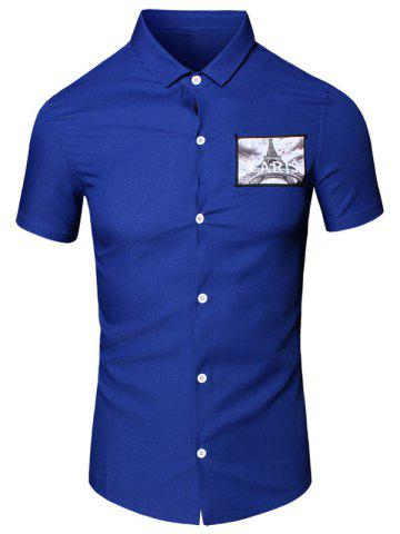 Affordable Turn-Down Collar 3D Iron Tower Printed Short Sleeve Cotton+Linen Shirt For Men BLUE L