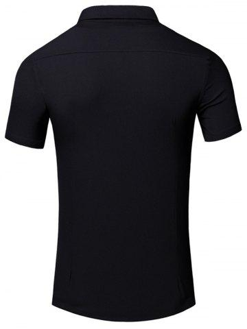 Latest Turn-Down Collar 3D Iron Tower Printed Short Sleeve Cotton+Linen Shirt For Men - L BLACK Mobile