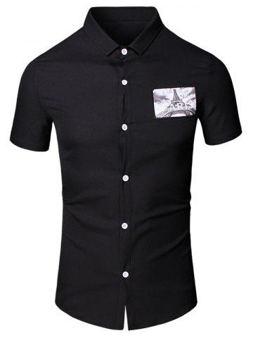 New Turn-Down Collar 3D Iron Tower Printed Short Sleeve Cotton+Linen Shirt For Men - 3XL BLACK Mobile