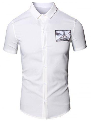 Chic Turn-Down Collar 3D Iron Tower Printed Short Sleeve Cotton+Linen Shirt For Men - 2XL WHITE Mobile