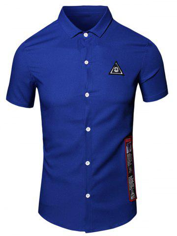 New Turn-Down Collar Geometric Eye Printed Short Sleeve Cotton+Linen Shirt For Men - L BLUE Mobile