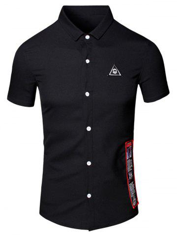Chic Turn-Down Collar Geometric Eye Printed Short Sleeve Cotton+Linen Shirt For Men - M BLACK Mobile