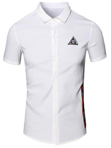 Cheap Turn-Down Collar Geometric Eye Printed Short Sleeve Cotton+Linen Shirt For Men - M WHITE Mobile