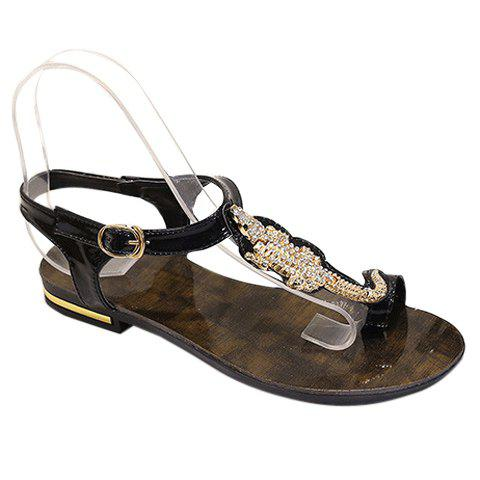 Cheap Stylish Metal and Rhinestone Design Sandals For Women - 36 BLACK Mobile