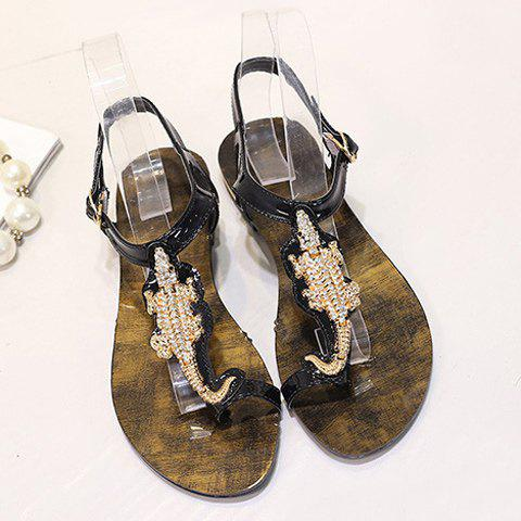 New Stylish Metal and Rhinestone Design Sandals For Women - 36 BLACK Mobile